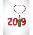 2019-happy new yeafr card with champagne bottle vector image vector image