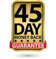 45 day money back guarantee golden sign vector image vector image