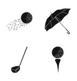 a flying ball a yellow umbrella a golf club a vector image