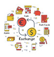 banking linear concept - currency exchange vector image vector image