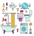 bath equipment icons made in modern line style vector image vector image