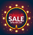 beautiful diwali sale banner with light bulbs and vector image vector image