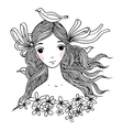Beautiful young girl with birds vector image