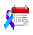 Blue and purple awareness ribbon and calendar vector image