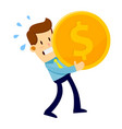 businessman carrying big gold coin vector image vector image