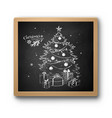 chalked sketch christmas tree vector image vector image