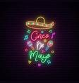 cinco de mayo neon signboard mexico greeting vector image