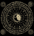 circle zodiac signs with moon and constellations vector image vector image