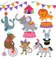 circus child show cartoon animals set vector image vector image