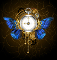 Clock with Blue Butterfly Wings vector image vector image