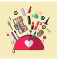 Cosmetic bag in flat style Make up objects vector image