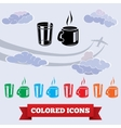 Cup of tea glass icons Drink symbol Black red vector image