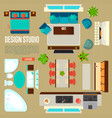 design studio concept with top view apartment vector image vector image