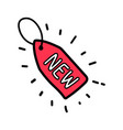 doodle red new tag label vector image vector image