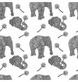 elephants seamless pattern in asian style mandala vector image
