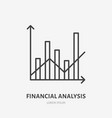 financial analysis flat logo column chart and vector image