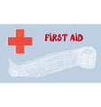 First aid banner with red cross and bandage - hand vector image