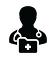 first aid icon male doctor person profile avatar vector image vector image