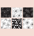 floral seamless patterns set with flowers vector image vector image