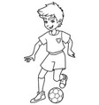 football playing boy line art vector image