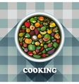 fruits and vegetables on plate food icon vector image