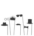 glasses crown mustaches hats gentelmens icons set vector image