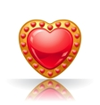 Glossy big red jewelry heart vector image