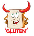 gluten evil mascot cartoon over white background vector image vector image