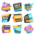 half price labels super 50 off discount sale vector image