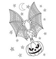 halloween doodle coloring book page bat vector image vector image