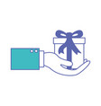 hand holding a gift box in blue and purple color vector image vector image