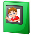 happy boy waving and looking out of window toy vector image