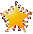 happy children around yellow star vector image vector image