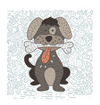 happy detailed doodle hand drawn dog vector image vector image