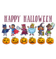 happy halloween poster with kids in costumes and vector image