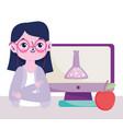 happy teachers day teacher computer chemistry vector image vector image