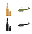 isolated object of weapon and gun symbol set of vector image