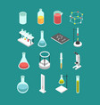 isometric 3d chemical laboratory equipment vector image