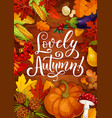 lovely autumn poster with fall pumpkin and leaf vector image vector image