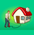 man inflate house pop art vector image