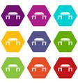 Pagoda icon set color hexahedron