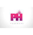 ph p h letter logo with pink purple color vector image vector image
