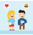 Pixel art game style office colleagues in love vector image vector image