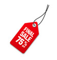realistic red price tag special offer or shopping vector image