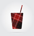 red black tartan isolated icon - drink with straw vector image vector image