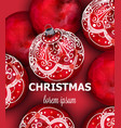 red christmas balls decoration banner vector image vector image
