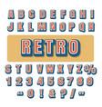 retro typography alphabet font vector image vector image