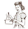 retro young woman in retro clothes cooking soup vector image