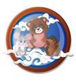 round wall painting with cute little animals vector image
