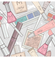 seamless makeup and cosmetics pattern vector image